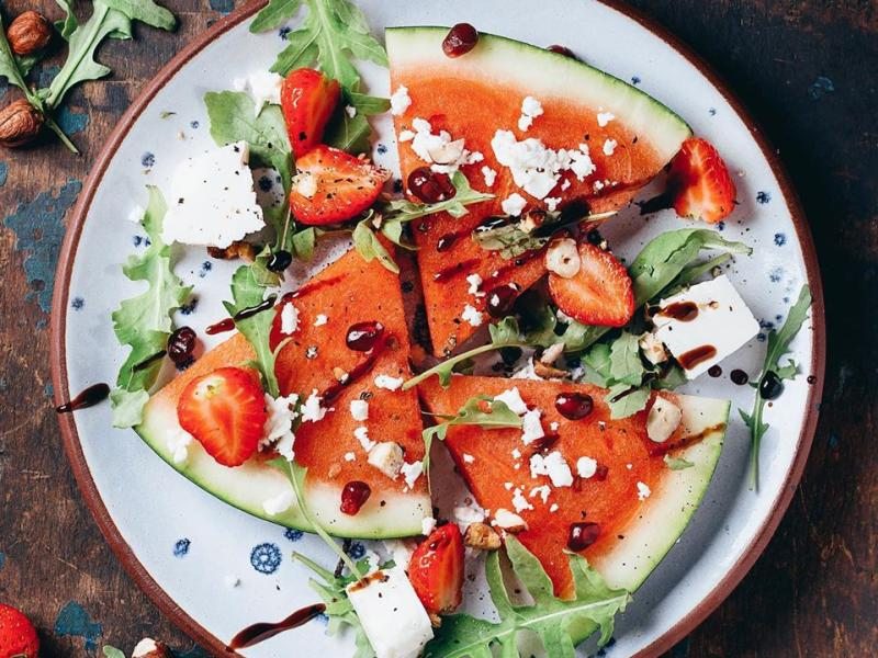Watermelon and feta cheese